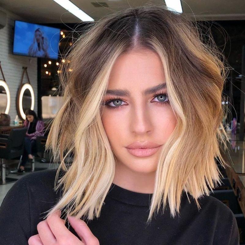 blonde long bob haircut wavy hair