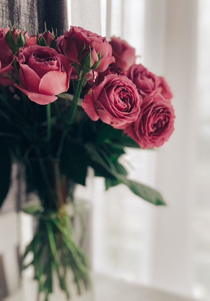 bouquet of pink roses in vase send flowers