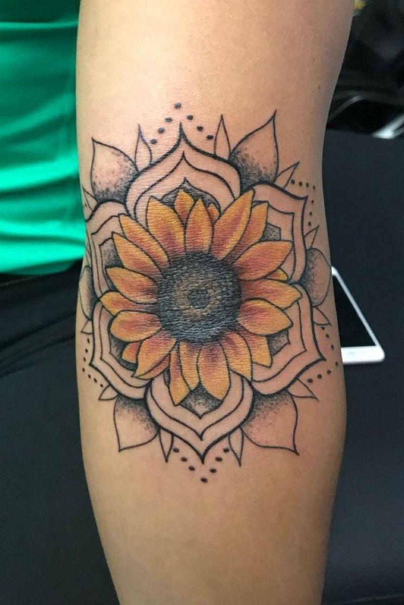 colored mandala sunflower tattoo forearm tattoo
