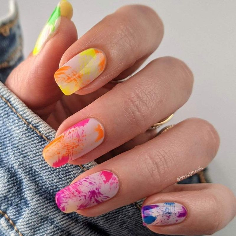 colorful neon nail designs abstract design