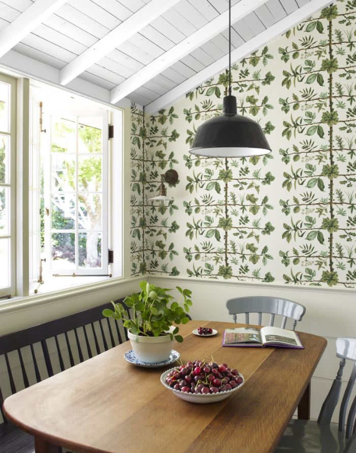 colorful wallpaper on the wall shiplap on the ceiling farmhouse kitchen table bench and chairs around table