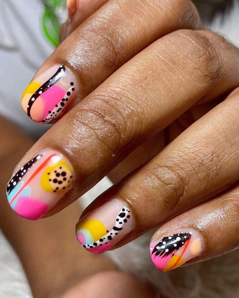 cute nail designs abstract colorful short nails