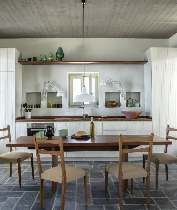 dining room design ideas open shelving above the sink long wooden table with four chairs