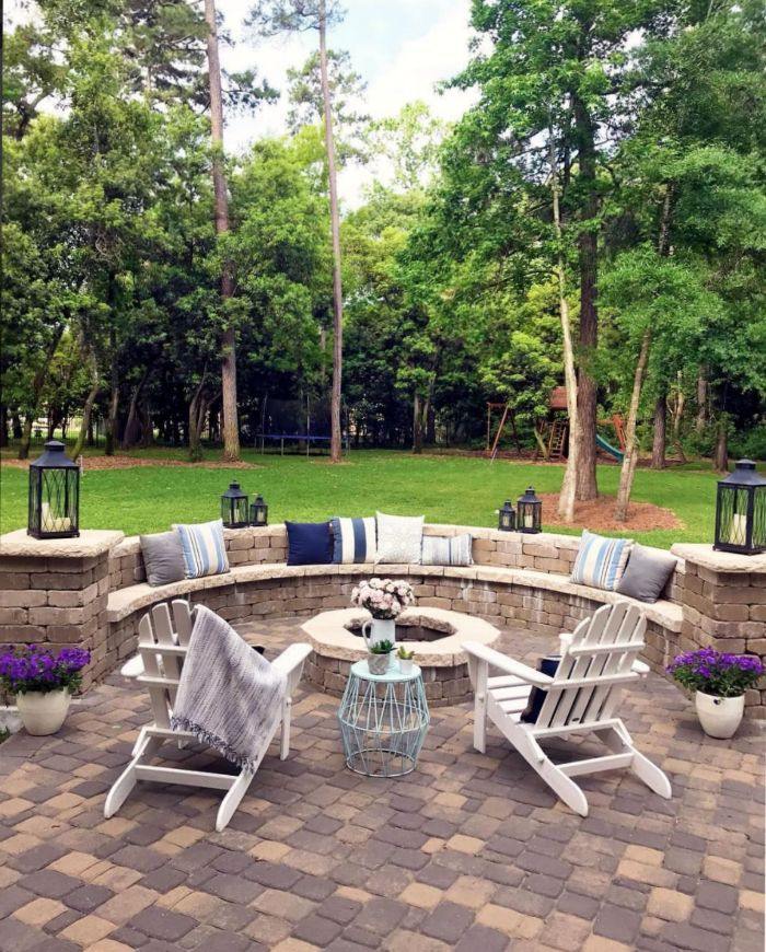 firepit with two white wooden lounge chairs backyard patio ideas bench build of stone bricks