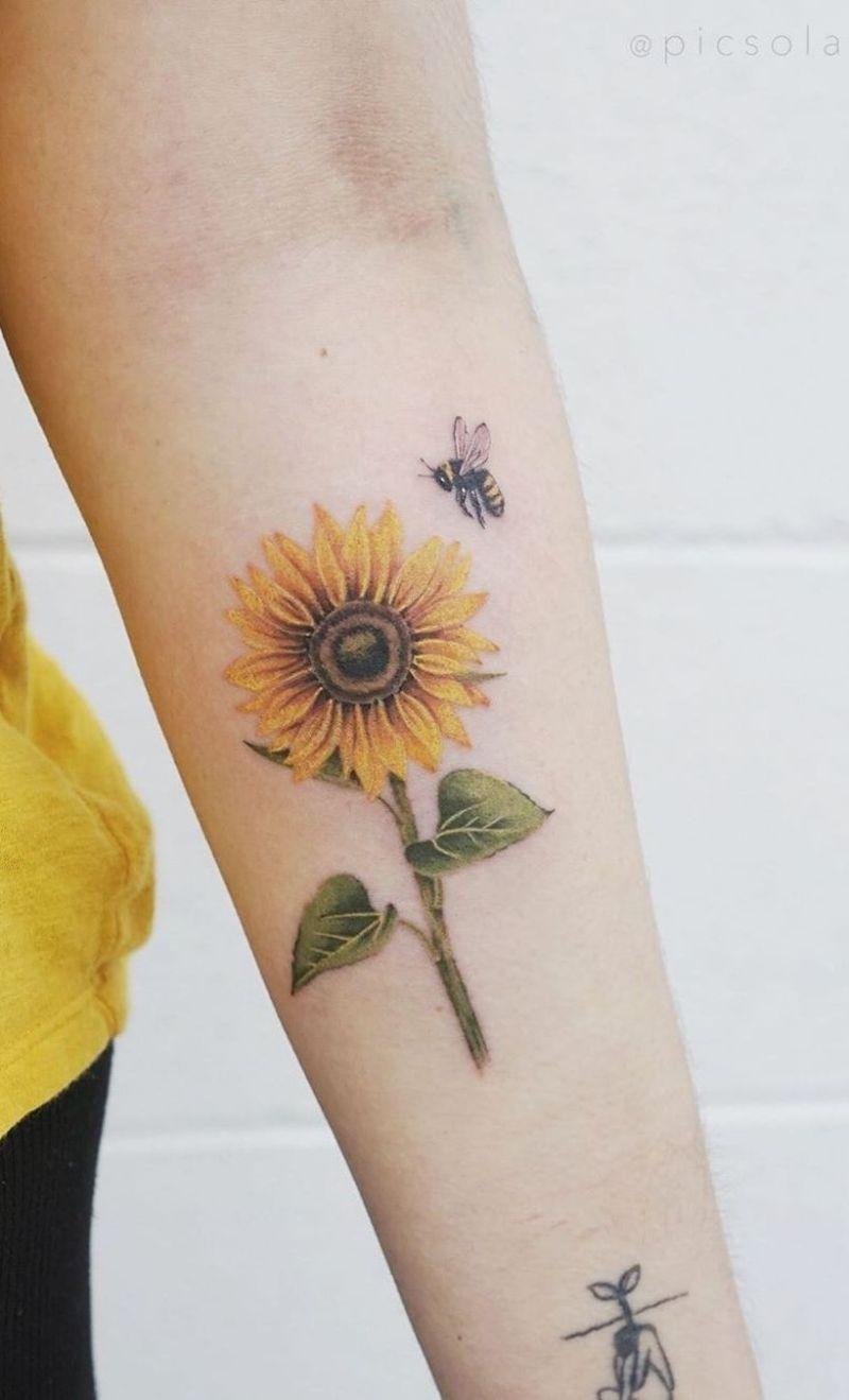 forearm tattoo sunflower tattoo with bee