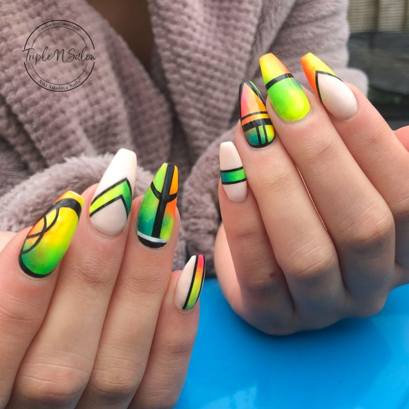 geometric design nail colors for summer 2020 colorful nails