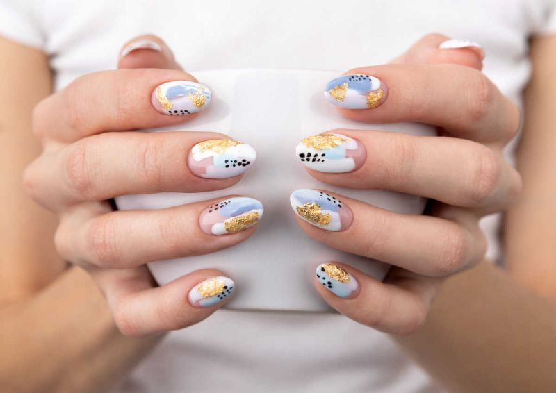 gold white blue cute nail designs abstract