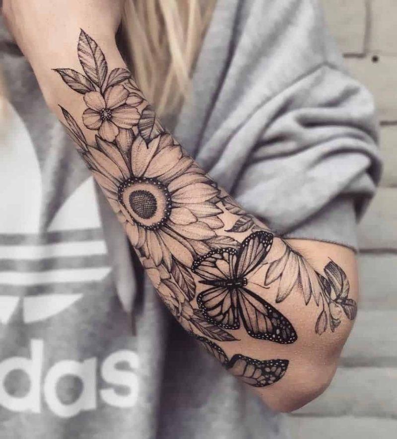 half sleeve small sunflower tattoo with butterflies