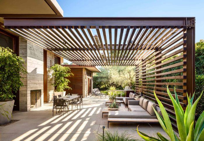 large wooden pergola lounge area underneath backyard patio designs dining area