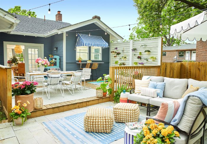 lounge area and separate dining area in small backyard landscape design ideas lots of potted plants