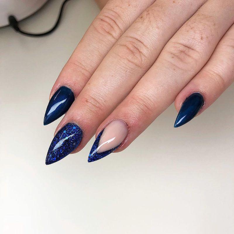 navy blue stiletto summer nail designs