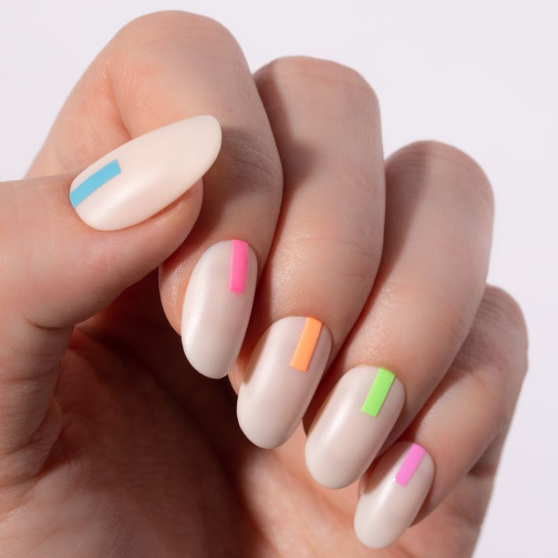 neon nail designs matte base neon details