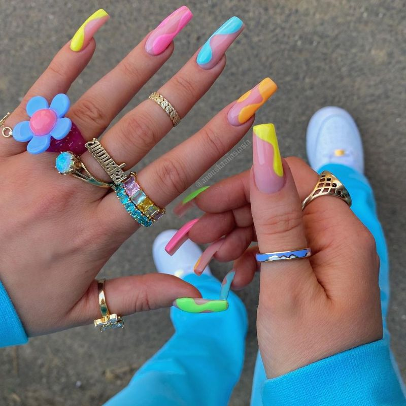 neon nails negative space coffin nails