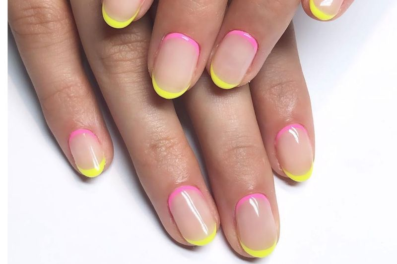 pink yellow french neon bright summer nails