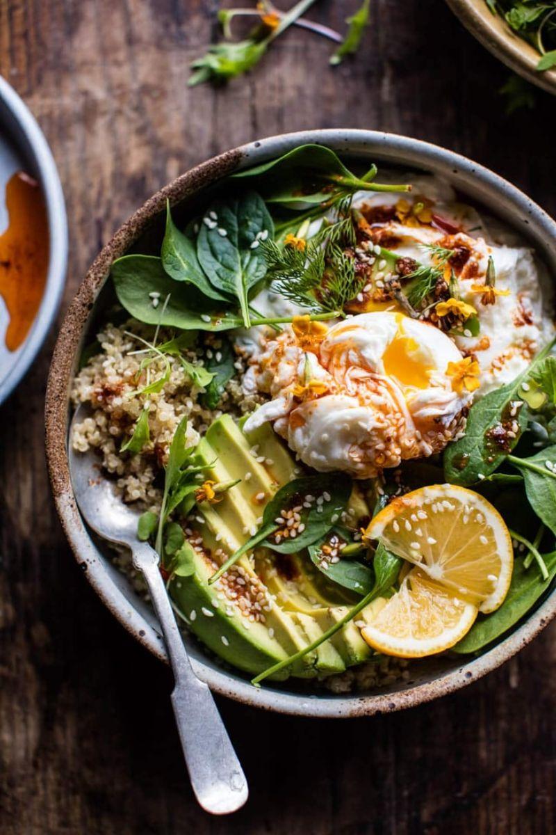 quinoa salad mediterranean diet breakfast avocado spinach