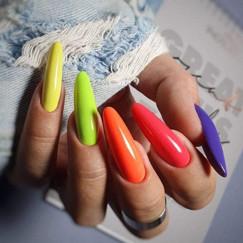 rainbow neon nails long almond nails