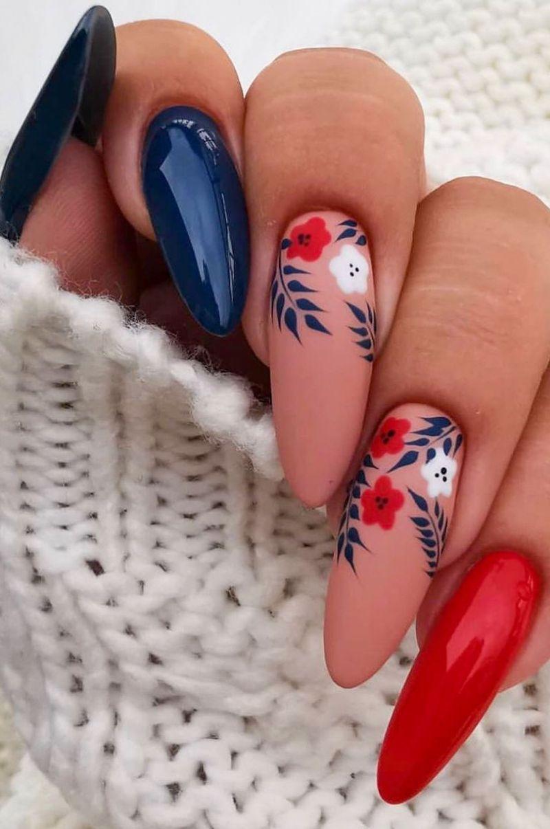 red nude blue matte cute nail ideas