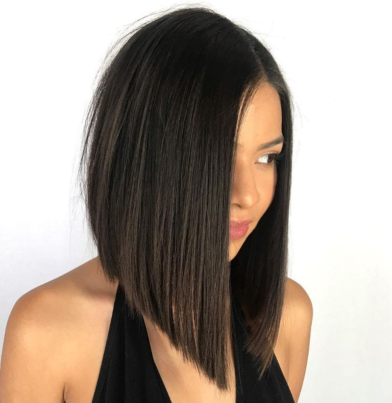short bob haircuts black straight hair assymetrical