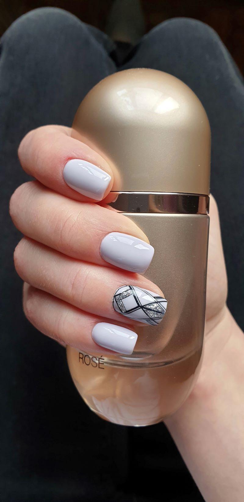 short purple geometric cute nail designs