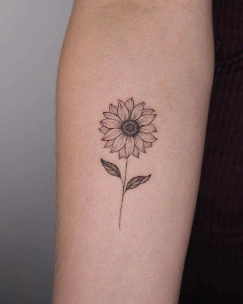 small forearm tattoo sunflower tattoo designs