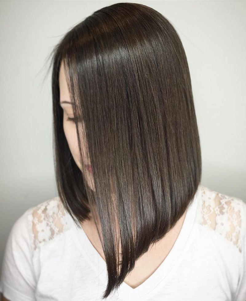 straight black short bob haircuts assymetrical