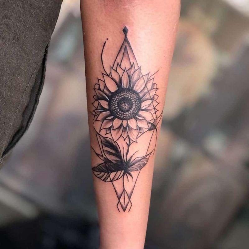 sunflower in triangle sunflower tattoo designs