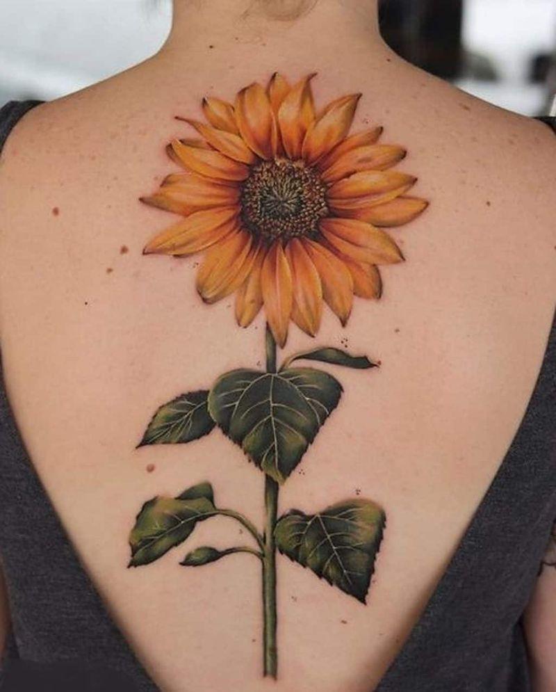 sunflower tattoo designs large back tattoo