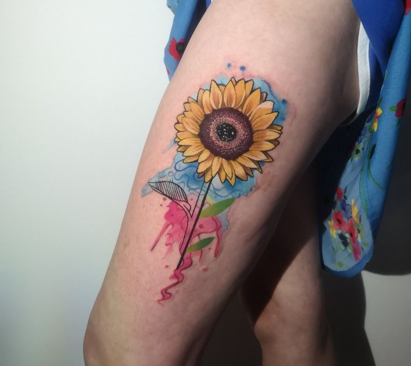 sunflower tattoo meaning watercolor thigh tattoo