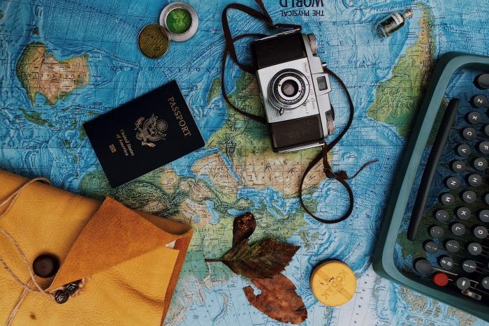 travel bucketlist adventure bag packing passport journal camera world map essentiels trip