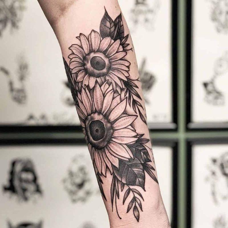two sunflowers forearm sunflower tattoo black white