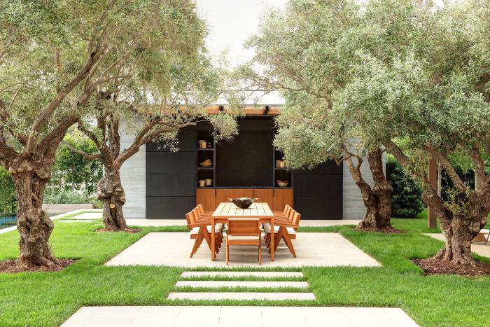 wooden dining table and chairs in front of small outside kitchen backyard patio designs four trees around it