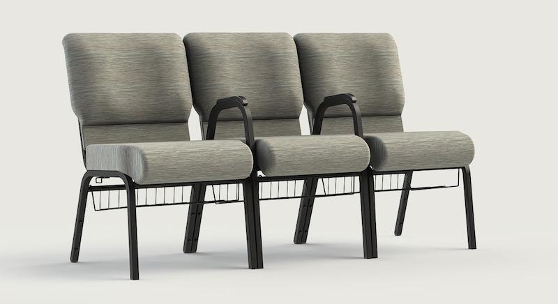 comfortek shared arm church chairs in gray
