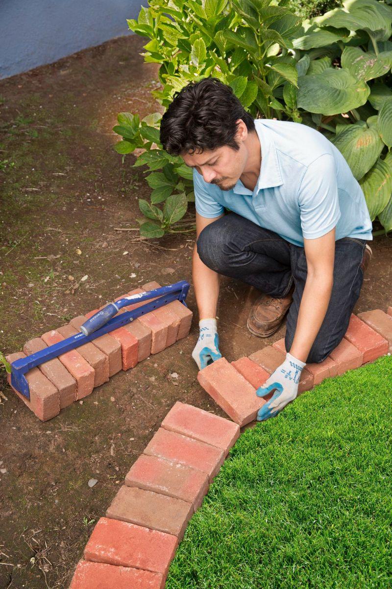 diy old bricks flower bed edging