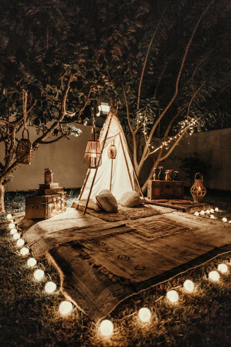 fairy lights transform your backyard tent