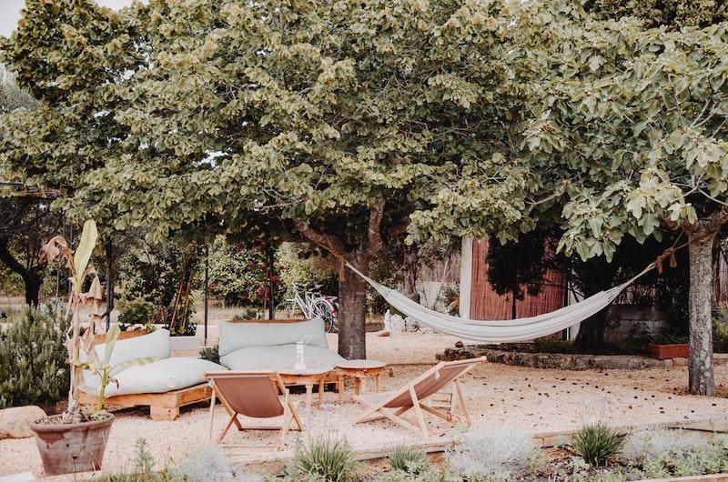 garden furniture big trees stone flooring and hammock