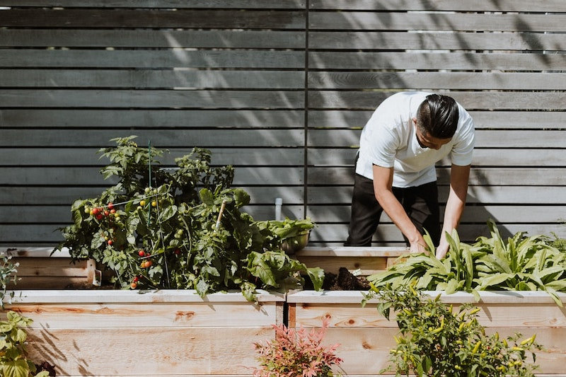 man who is doing gardening white t shirt black pants