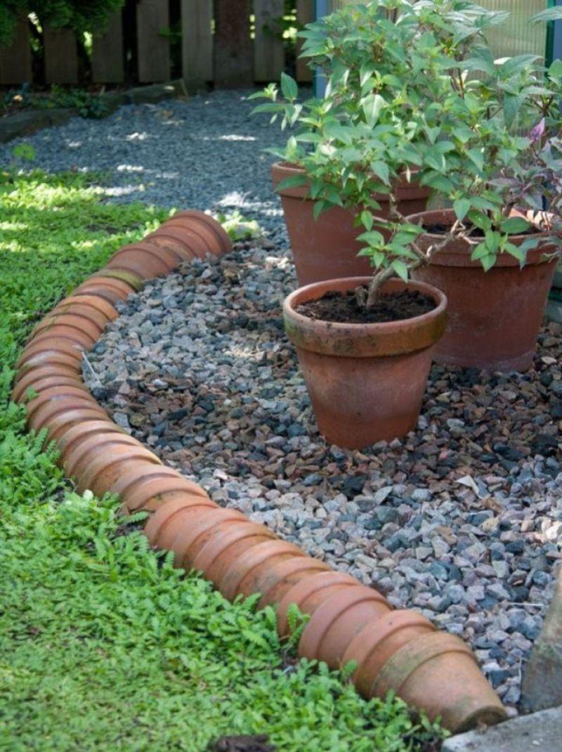 old ceramic pots garden edging