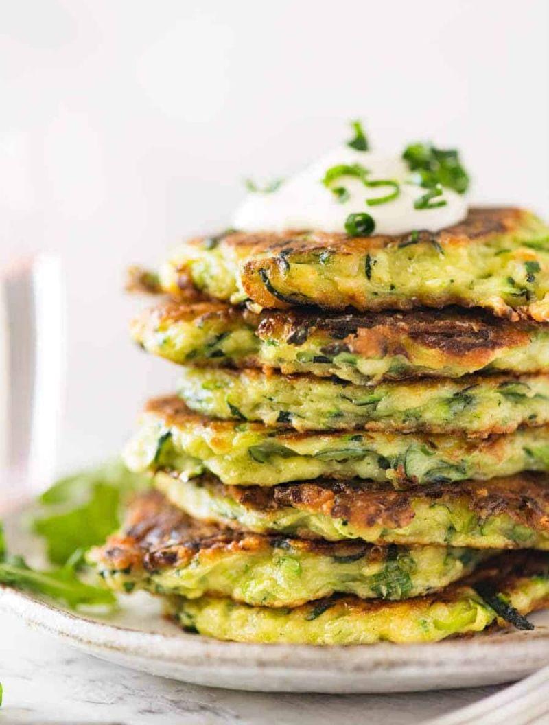 stacked zucchini fritters recipe with yogurt