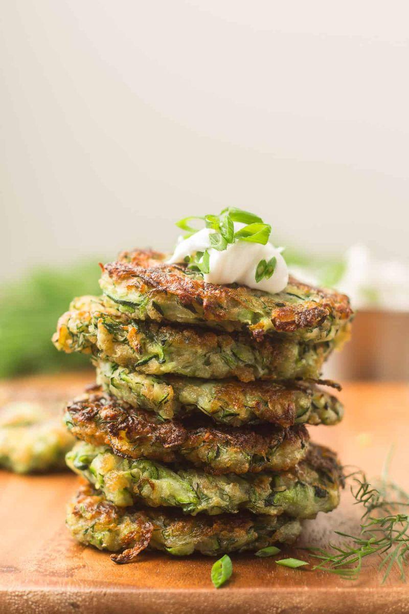 vegan how to grate zucchini stacked with yogurt