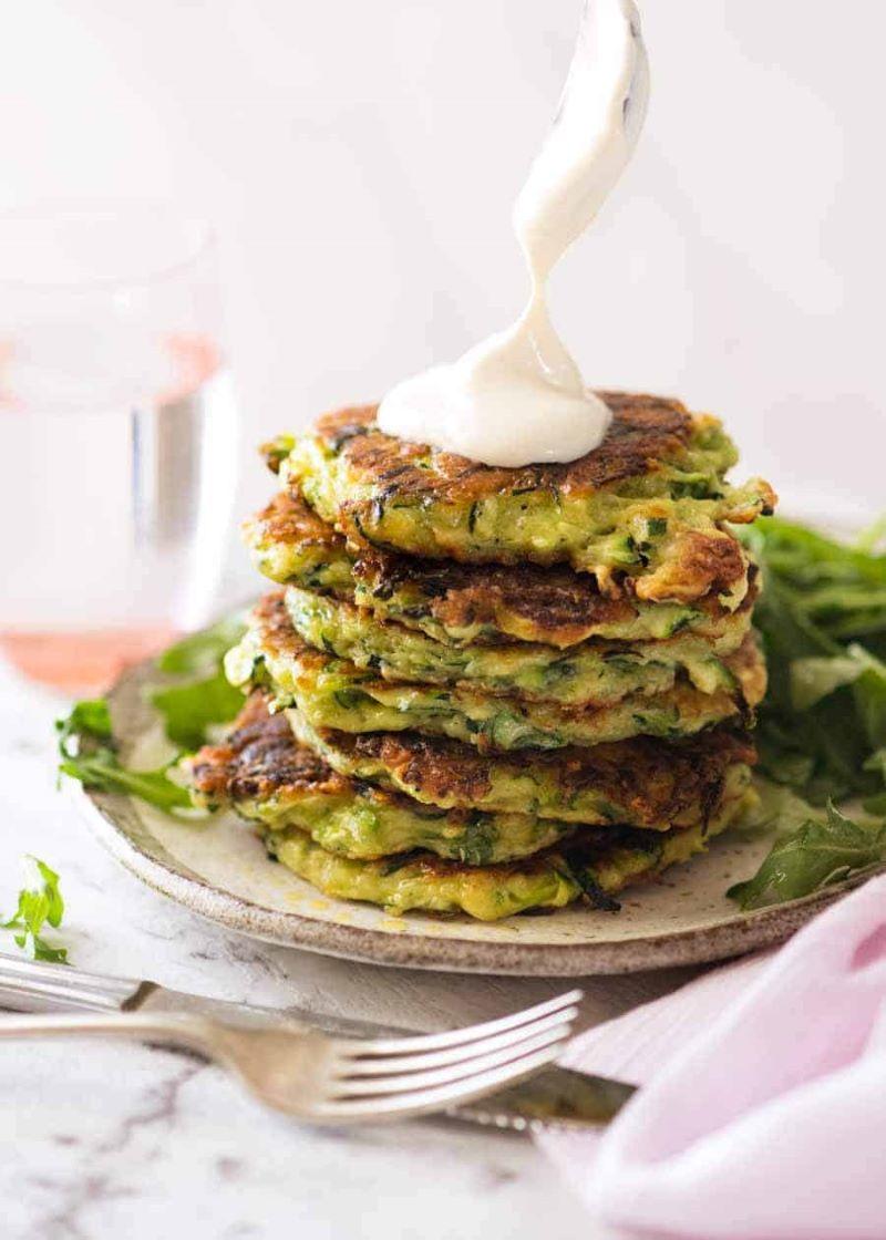 zucchini fritters best zucchini recipes with yoghurt garlic sauce