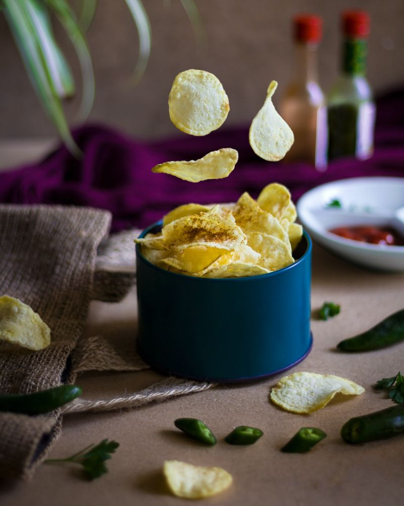 chips in blue bowl how to make baked potatoes