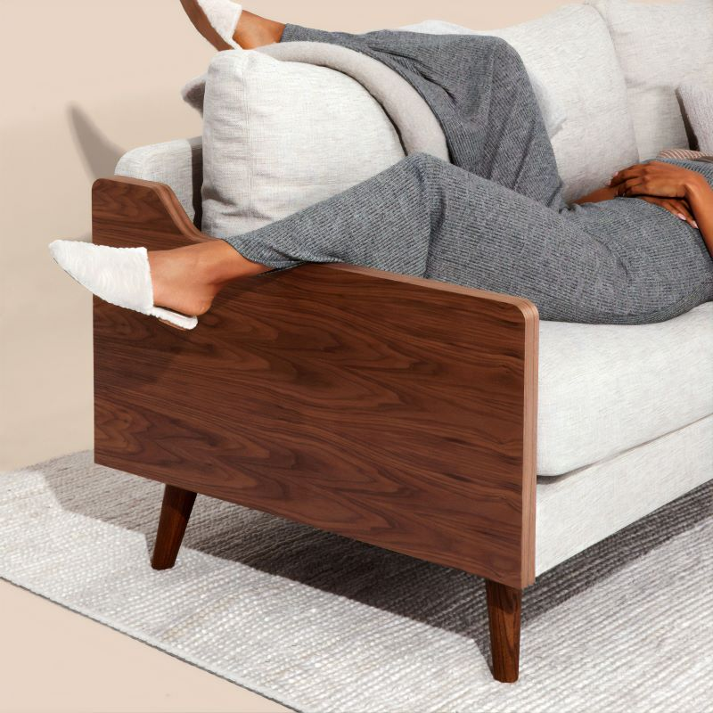 find a sofa that fits woman with gray pants