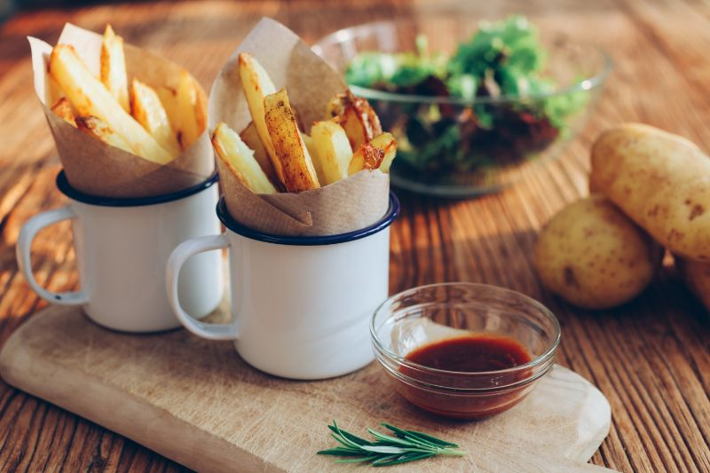 french fries in mugs how to bake a potato barbecue dip