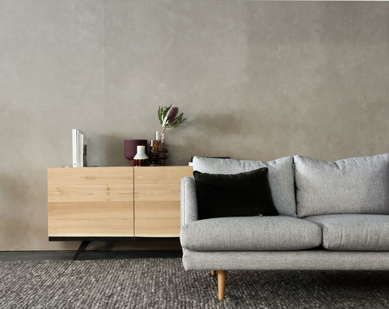 gray sofa find a sofa that fits wooden cabinet