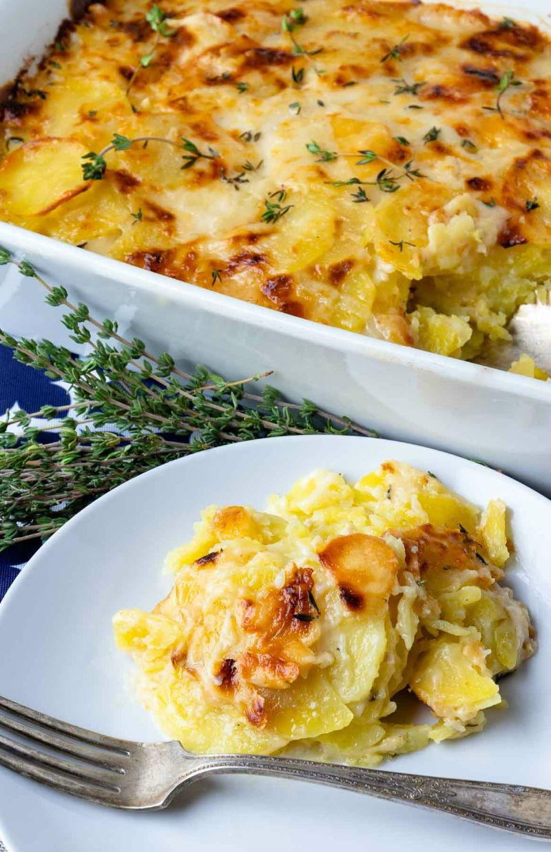 how to cook potatoes casserole white plate