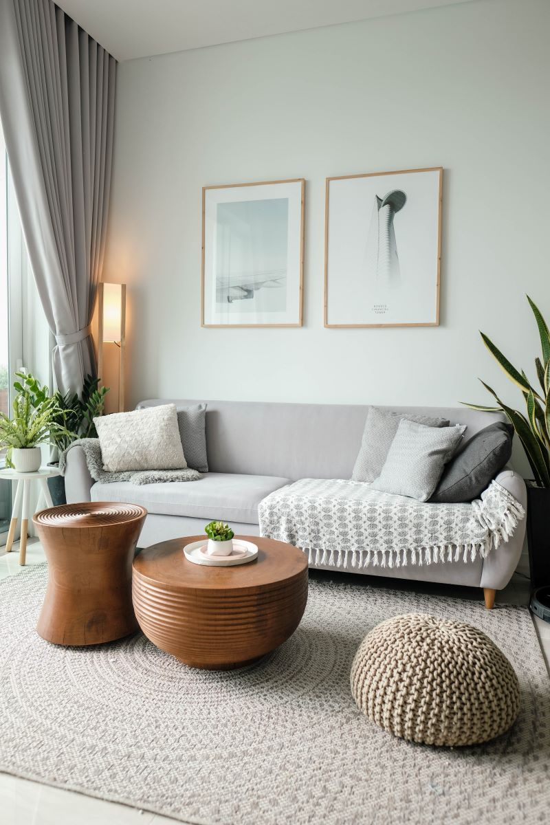 minimalistic design cleaning every room gray sofa