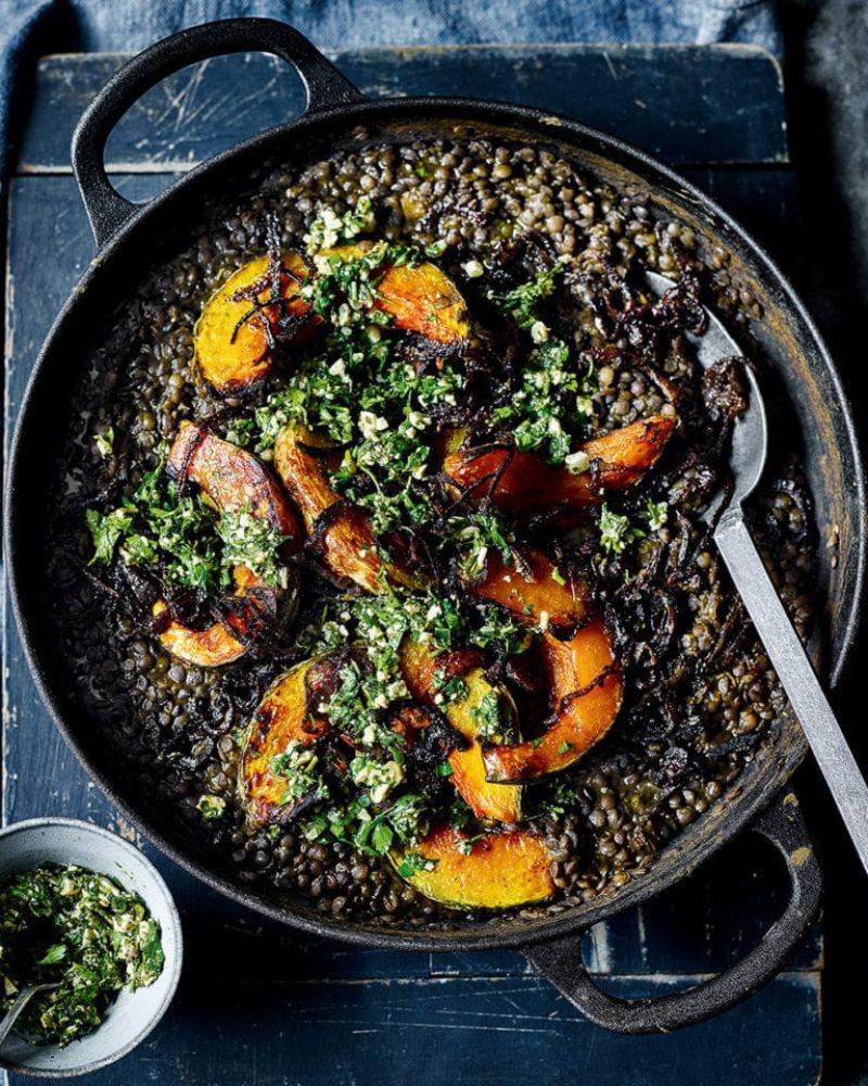 pumpkin with lentils pumpkin baking recipes in skillet