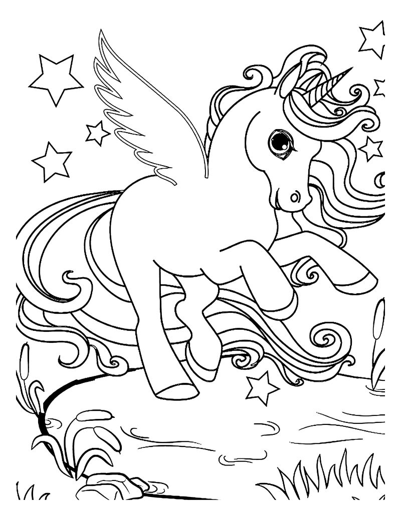 black and white drawing unicorn coloring pages
