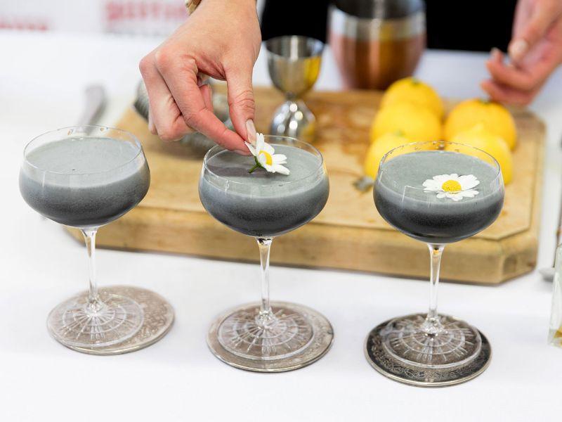 black gin cocktails recipe in three glasses