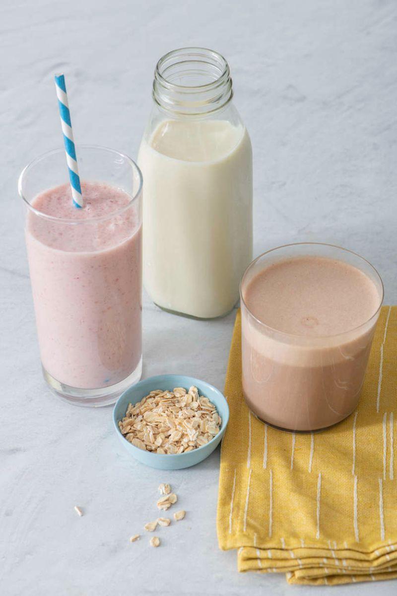 bottle two glasses oat milk recipe